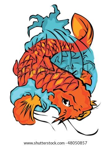 goldfish tattoo design. stock vector : Koi Fish