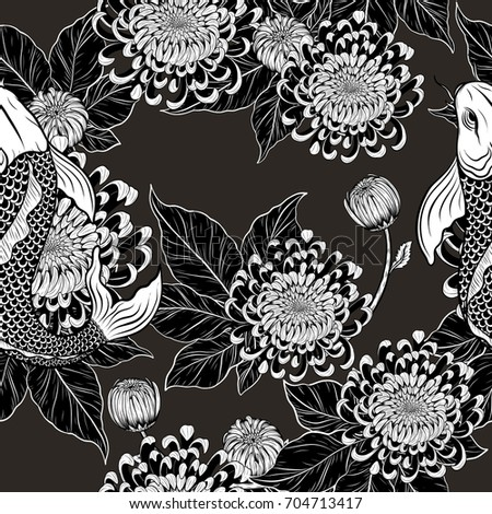 Koi fish and chrysanthemum pattern by hand drawing.Tattoo art highly detailed in line art style.Fish and flower seamless pattern.