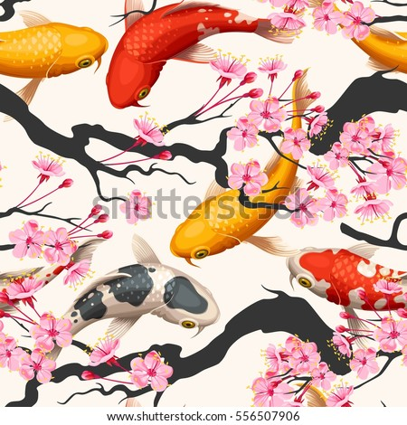 Koi fish and sakura seamless