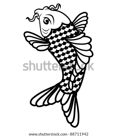 stock vector Koi fish black and white illustration eps 8