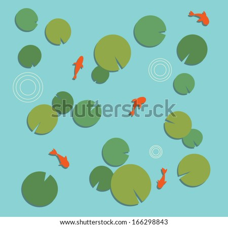 koi fish pond with carp and