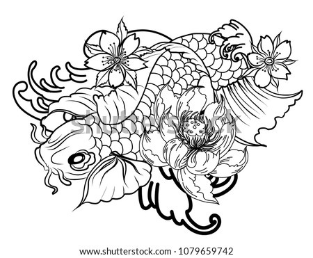 bfa6acfe2 koi fish tattoo design.Hand drawn koi carp with peony flower, lotus, plum