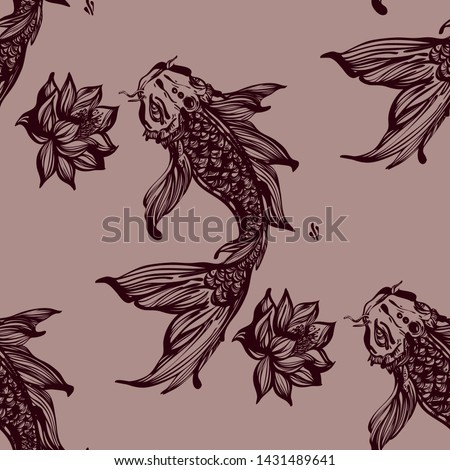Koi fish vector seamless pattern. Fish seamless. Fish seamless pattern. Carps and lilies flowers. - Vector.