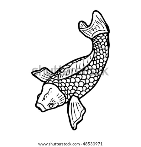 goldfish tattoo design. stock vector : koi tattoo drawing