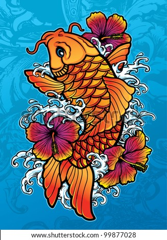 Koi with Hibiscus