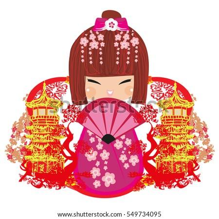 kokeshi doll cartoon character