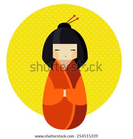 kokeshi doll in kimono flat