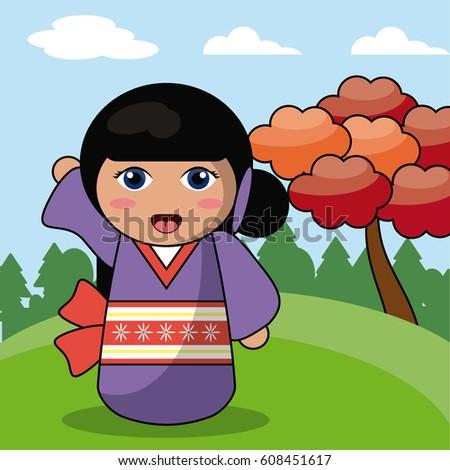 kokeshi doll japanese landscape
