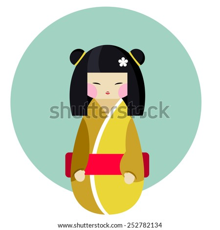 kokeshi doll vector flat style