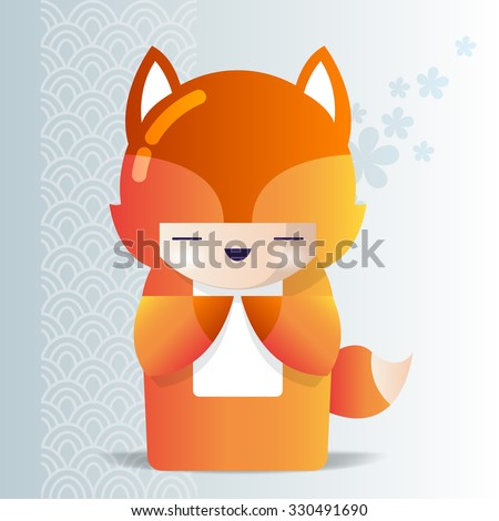 kokeshi girl in a fox pajamas