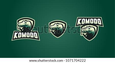 komodo dragon e sport esport gaming poker logo shield emblem sticker vector