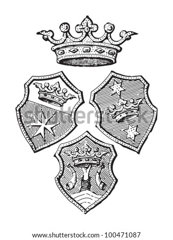 Konigsberg coat of arms (city in Germany) / vintage illustration from Meyers Konversations-Lexikon 1897