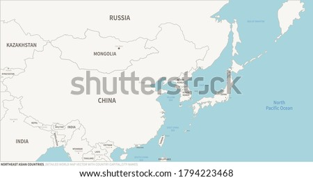 Korea, China, Japan map. Northeast Asian Countries map. Detailed world Map Vector with Country,Capital,City Names.
