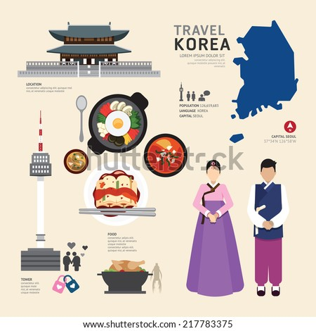 korea flat icons design travel