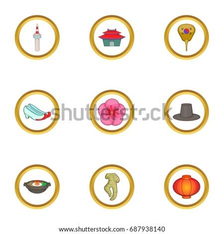 korea icons set cartoon set of
