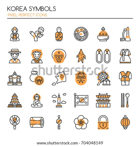 Korea Symbols , Thin Line and Pixel Perfect Icons