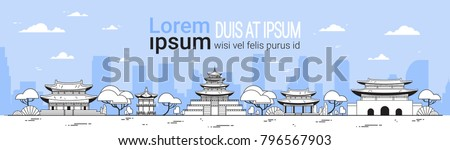 Korea Travel Landmarks Template Horiozntal Banner Seoul Traditional Landscape Oriental Palaces And Temples View Vector Illustration