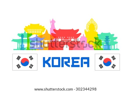 korea travel landmarks vector