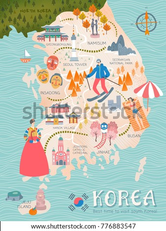 korea travel map  lovely flat
