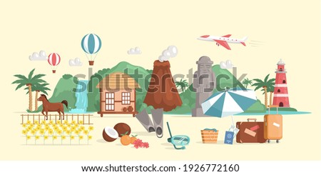 Korea travel map, lovely korea attractions and specialties for traveler. Welcome to Jeju Island, South Korea travel poster design with colorful icons of landmarks. Korean land traditional jeju-do