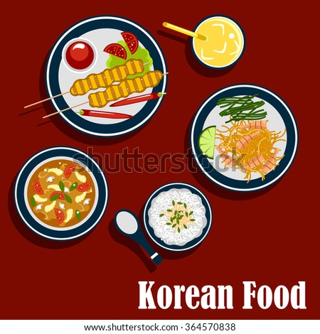 Korean cuisine food icons with rice, seafood soup with shrimp and vegetables, spicy carrot salad with lemon and seaweed, bulgogi skewers served with chilli peppers, tomatoes, sauce