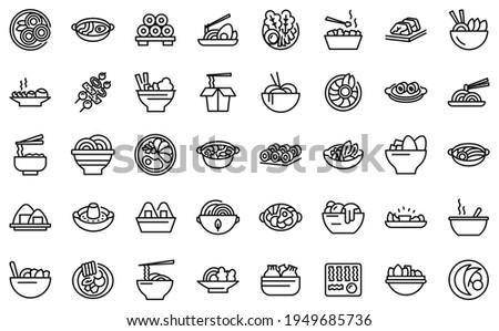 Korean cuisine icons set. Outline set of korean cuisine vector icons for web design isolated on white background