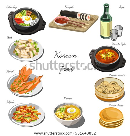 Korean cuisine set. Collection of food dishes for the decoration of restaurants, cafes, menus. Vector Illustration. Isolated on white.