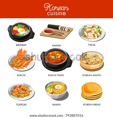 Korean cuisine traditional dishes flat icons.