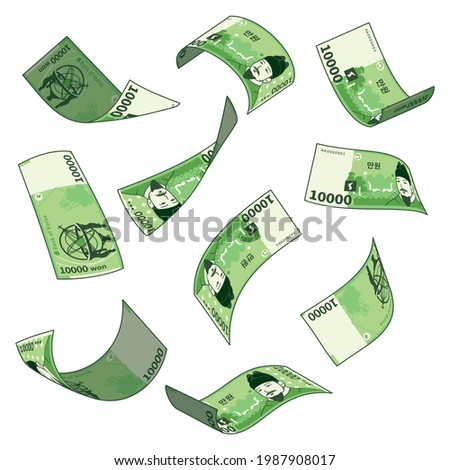 Korean currency, a set of falling bills in various forms. South Korean 10,000 won.