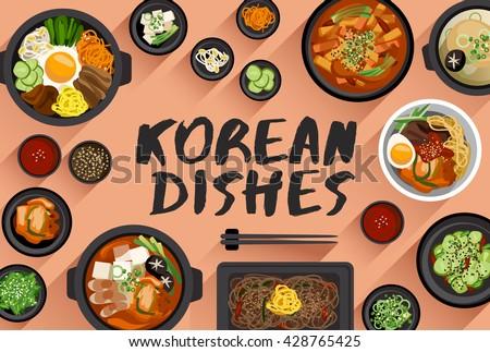 Cuisine Illustration korean food vector illustration - download free vector art, stock