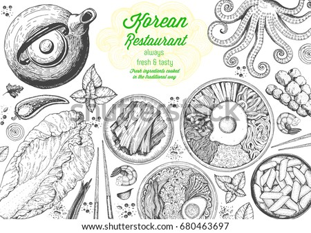 Korean food menu restaurant. Korean food sketch menu. Asian food background. Asian food poster. Set of dishes: bibimbap, kimchi, tteok-bokki, ramen. Vector illustration