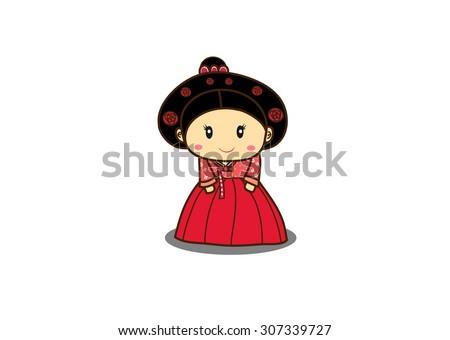 korean girl wear hanbok cartoon