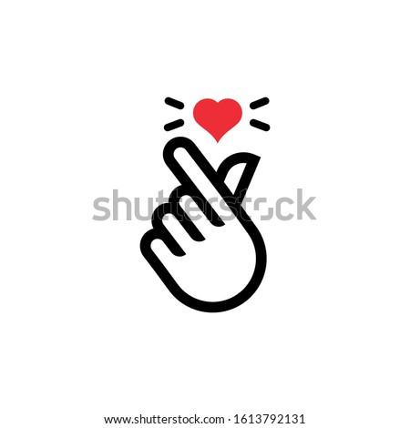 korean heart finger i love you