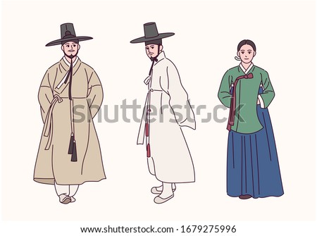Korean history traditional costume character. Aristocratic man. Palace women. hand drawn style vector design illustrations.  Сток-фото ©