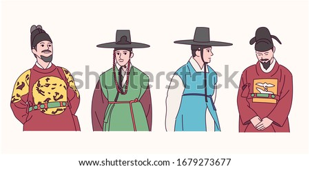 Korean history traditional costume character collection. Kings, servants and noble men. hand drawn style vector design illustrations.