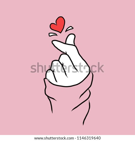 Korean love sign typography Fashion slogan for t-shirt print, Korea finger heart vector illustration