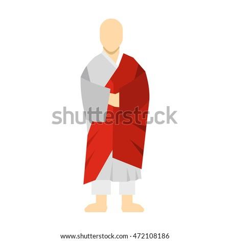 korean monk icon in flat style