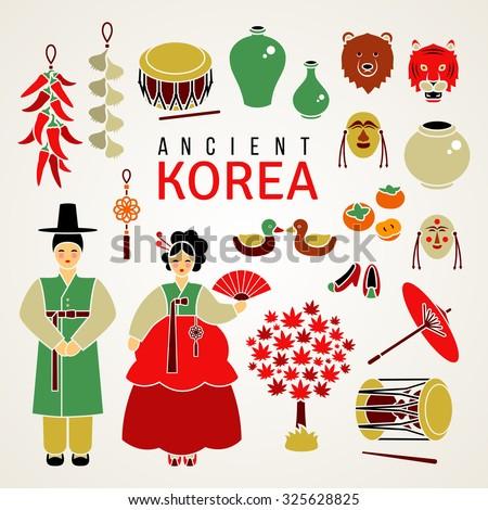 korean national symbols set of
