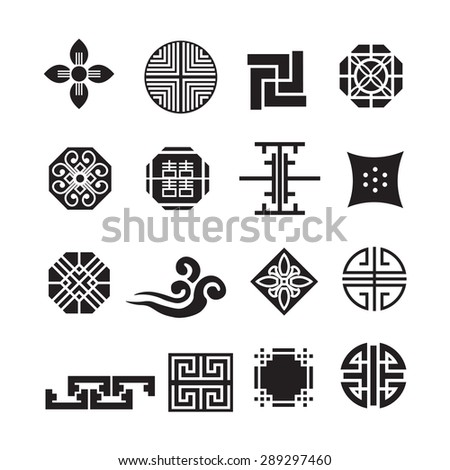 korean ornament icon vector set