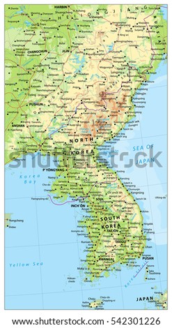 Korean Peninsula large detailed physical map with roads, railroads, water objects, cities and capitals.