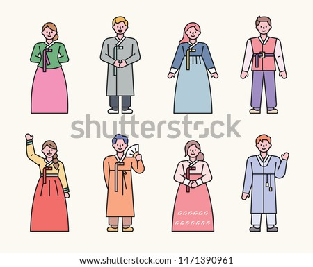 Korean traditional costume characters in various styles. flat design style minimal vector illustration.