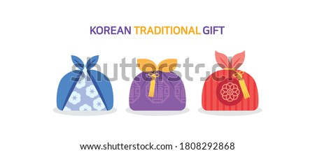 Korean traditional gift. Asian traditional gift wrap icons.