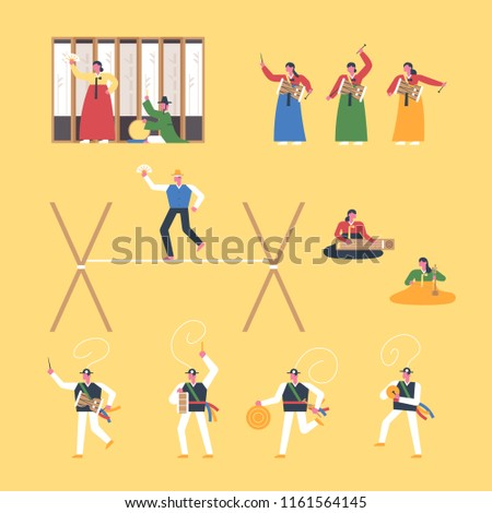 Korean traditional music and traditional play. flat design style vector graphic illustration set