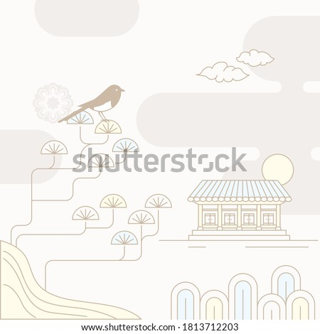 Korean traditional vector illustration with a magpie on the pine trees and a traditional house.