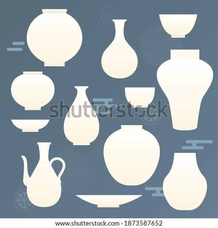Korean traditional vector illustration with white ceramics. ストックフォト ©