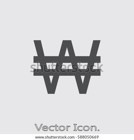 Korean Won cashier. Icon isolated sign symbol and flat style for app, web and digital design. Vector illustration. Zdjęcia stock ©