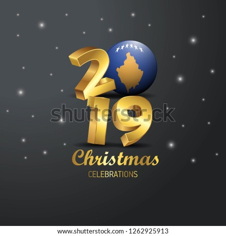 Kosovo Flag 2019 Merry Christmas Typography. New Year Abstract Celebration background