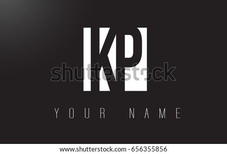 KP Letter Logo With Black and White Letters Negative Space Design.