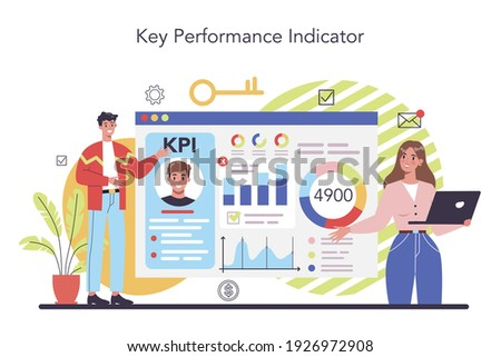 KPI concept. Key performance indicators. Employee evaluation, testing form and report, worker performance review. Staff management, empolyee development. Isolated flat vector illustration