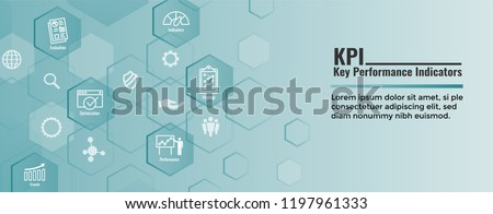 KPI - Key Performance Indicators Web Header Banner and Icon set